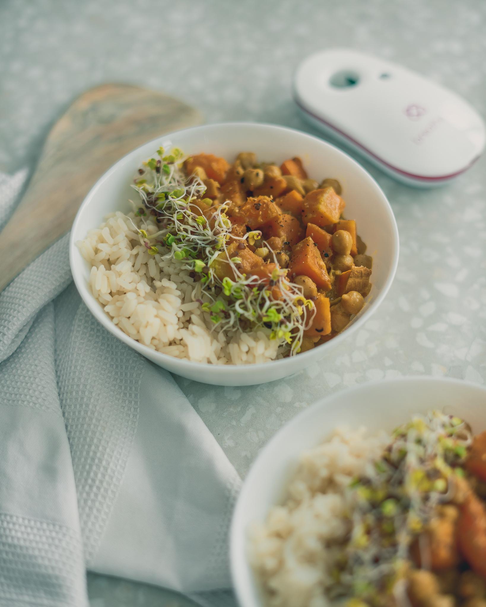 Kürbis-Süßkartoffel Curry mit Kichererbsen